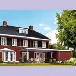 Huis bouwen Nachtpauwoog achterzijde rode bakstenen