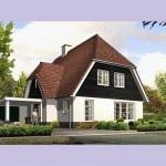 Huisbouw Groot Koolwitje voorzijde oranje dakpannen