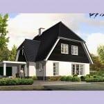 Huisbouw Groot Koolwitje voorzijde zwarte dakpannen